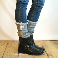 The Lacey Lou Light Grey Open-work Leg Warmers w/ ivory knit lace trim & buttons - Legwarmers (item no. 3-13)