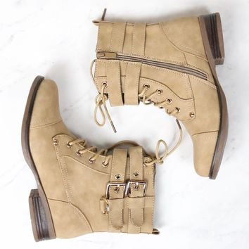 susan - military style buckle accent boot - more colors
