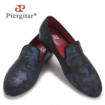 Piergitar Special Crocodile Print Suede Leather Plus Size Men Handmade shoes Smoking Slippers men loafers Men Flats Size US 4-17
