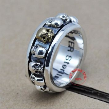 Sterling Silver Jewelry 925 Silver Ring Steampunk Men Rings Rotatable Skull Ghost Thai Silver Ring