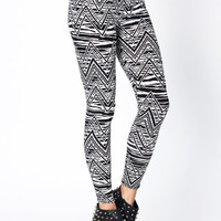 printed-leggings BLACKWHITE - GoJane.com