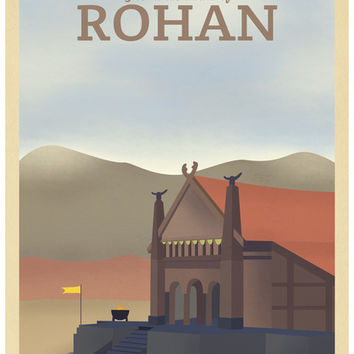 Retro Travel Poster Series - The Lord of the Rings - Rohan Art Print by Teacuppiranha