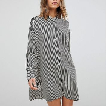 Stradivarius Stripe Shirt Dress at asos.com