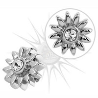14g Stainless Steel CZ Daisy Dermal Anchor Top