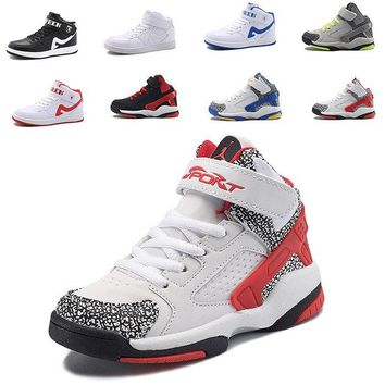 Kids Basketball Shoes Outdoor Trainers basket Shoes High Top Athletic Boots Anti-Slip Boys Leather Basketball Sneakers