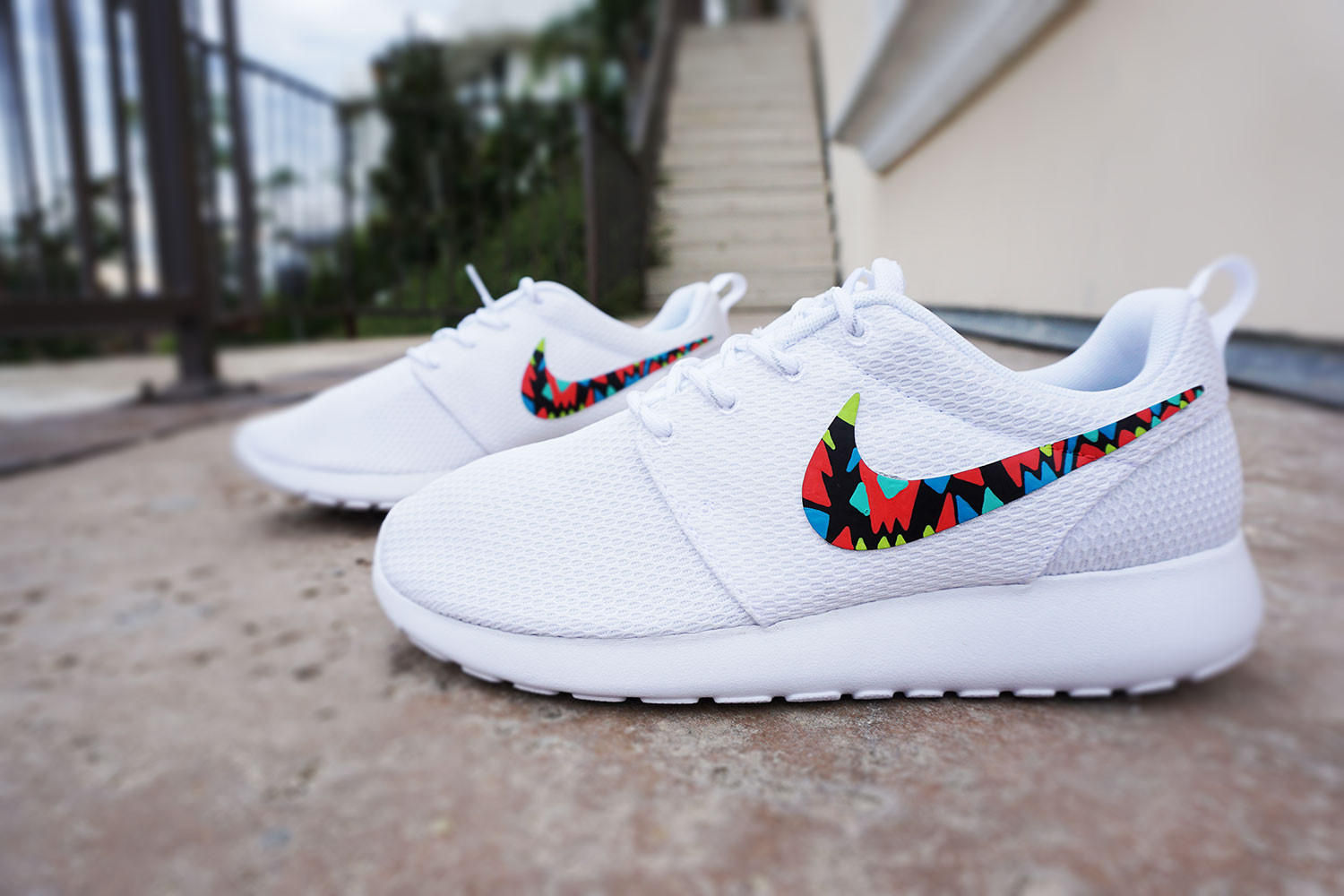 Lastest Custom Nike Roshe Run For Women Tribal Design White With