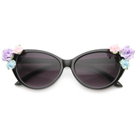 Limited Edition Ceramic Flower Glam Womens Super Cat Eye Sunglasses