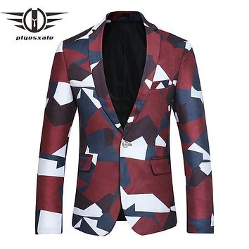 Men Blazer Fashion Blazer Slim Fit Casual Suit Jacket Men Stage Wear Party Prom Blazers