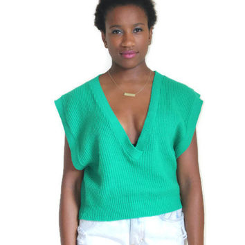 Vintage 80s 90s Deep V Neck Sweater Vest Bright Teal Green