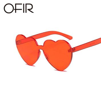 OFIR 2018 Love Heart Shape Sunglasses Women Siamese Rimless Frame Tint Clear Lens Colorful Sun Glasses Red Pink Yellow Shades