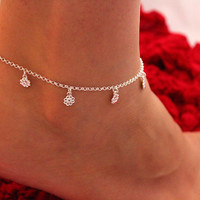 Sterling Silver Anklet Flower Anklet Bracelet Adjustable Anklet chain (A-06)