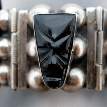 Vintage Sterling Silver Bracelet Black Onyx Carved Tribal Face Early Mexican
