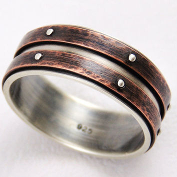 Unique Wedding Band Ring   Silver Copper Ring,mens Ring,engagement Ring ,anniversary