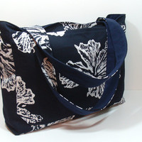 Navy Blue Flower Beach Bag, XL Beach Tote, Floral Beach Tote, Beach Tote Bag, 4 Towel Beach Bag, Summer Beach Bag, Navy Blue Tote Bag