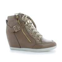 Bubble55 Taupe Pu By Wild Diva, Studded Lace Up Hidden Wedge Heel Ankle Booties