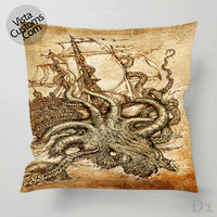 Kraken Steampunk Octopus Sea Monster Pillow Case, Chusion Cover ( 1 or 2 Side Print With Size 16, 18, 20, 26, 30, 36 inch )
