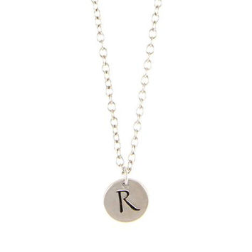 Initial Charm R Antiqued Silver Chain Necklace