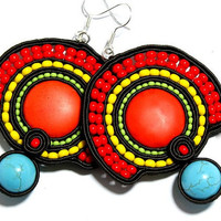 Soutache Jewelry, Red Jewelry, Soutache Earrings,  Ethnic Earrings, Boho Earrings, Colorful Soutache Earrings, Red Earrings, OOAK
