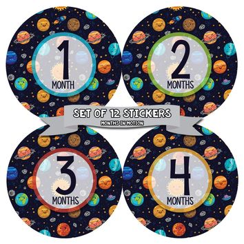 MONTHS IN MOTION Monthly Baby Photo Milestone Month Age Growth Stickers for Boy