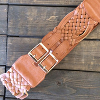 Braided Tan Wide Belt Stretchable