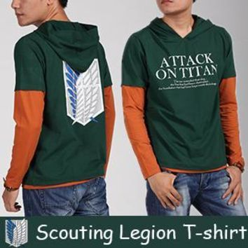 Cool Attack on Titan Japanese anime  t shirt tshirt scouting legion clothes no  long-sleeve T-shirt AT_90_11