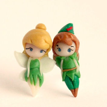 Tinkerbell and Peter Pan inspired by Disney fairy tale. Stud earrings.