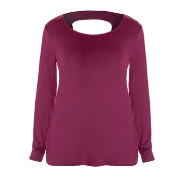 Twist Back Basic Top, Burgundy