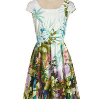 ModCloth Long Cap Sleeves A-line Magnificent Meadow Dress