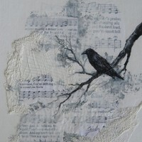 Raven, Crow Song  original mixed media painting by Griselda Tello
