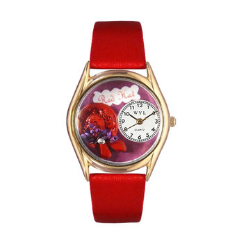 Whimsical Watches Healthcare Nurse Gift Accessories Red Hat Red Leather And Goldtone Watch