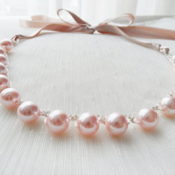 pink pearl necklace, pink necklace, ribbon necklace, wedding necklace