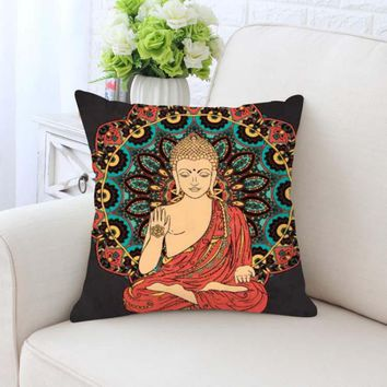 Buddha Cushion Cover Statue Gold Zen Meditation Elephant Mandala Bohemian Style Boho Decorative Pillow Case For Home Chair