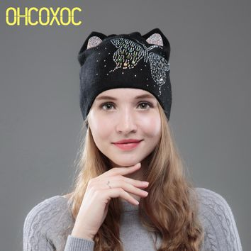 OHCOXOC New Design Women Beanies Skullies Cute Princess Girl Autumn Winter Hat Cap With Cat Ear Shiny Color Butterfly Rhinestone