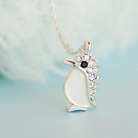 SALE - Baby Silver Penguin Necklace, Cubic Zirconia Crystal Paved Charm, Whimsical Jewelry