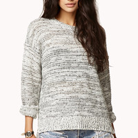 Marled Open-Knit Sweater