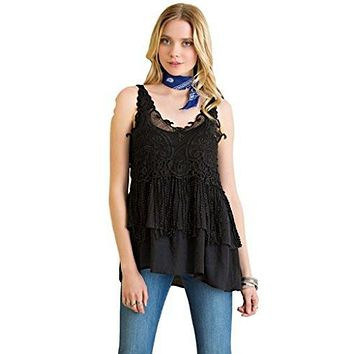 Entro Women's Lightweight Sleeveless Feminine V-Neck Tunic with Tiered Ruffles and Crochet Lace