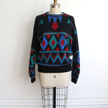 Vintage 80s Unisex Pendleton Wool Geometric Print Sweater // Cozy Fall Knit
