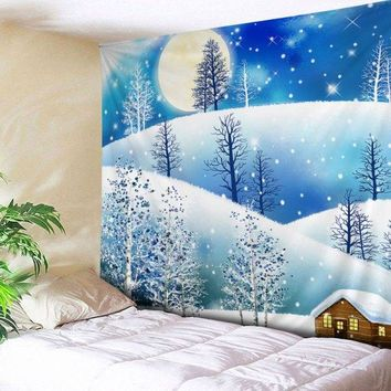 Wall Hanging Art Christmas Moon Night Print Tapestry -  W59 Inch * L51 Inch