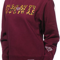 Diamond Supply Co Women's DMND Leopard Dark Red Crew Neck Sweatshirt