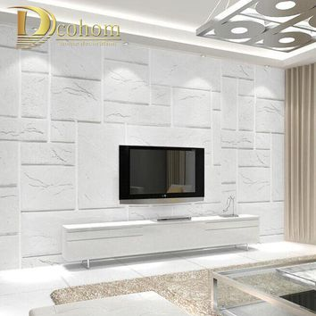 High Quality Embossed Yellow White Brick Wallpaper For Walls 3 D Texture Wall Paper Bedroom Living Room Sofa Background Decor