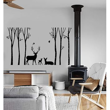 Vinyl Wall Decal Forest Animal Deer Family Nature Landscape Stickers (2834ig)