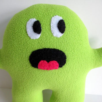 Charlie the Alien, Monster, fleece, green, lime, felt, surprised