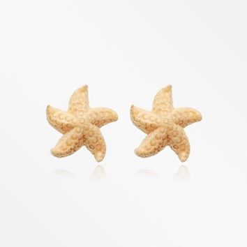 A Pair of Amazing Starfish Handcarved Wood Earring Stud