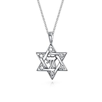 Star OF David Chai Symbol Magen Je Pendant Necklace Sterling Silver