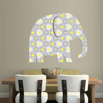 Full Color Wall Decal Mural Sticker Decor Art Floral Flowers Elephant Ornament Gift (col642)