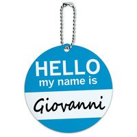 Giovanni Hello My Name Is Round ID Card Luggage Tag