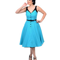 Blue & Black Polka Dot Sea Breeze Swing Dress