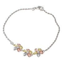 YELLOW ROSE GOLD SILVER 925 RHODIUM TRICOLOR HAWAIIAN 3 PLUMERIA ANKLET ROPE 9""