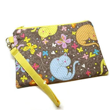 Adorable colorful cats and butterflies zippered phone wristlet wallet purse. Cat lover gift under 30. Gift for her. Vegan iphone purse.