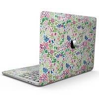 Butterflies and Flowers Watercolor Pattern V2 - MacBook Pro with Touch Bar Skin Kit